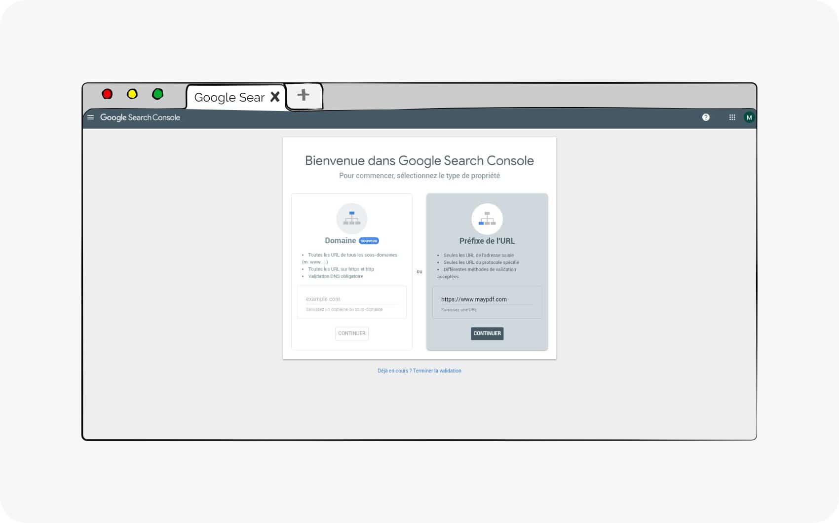 Entrez l'URL de votre site