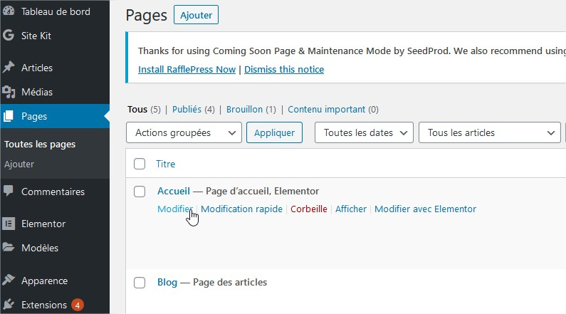 Balise Title Modifier Page