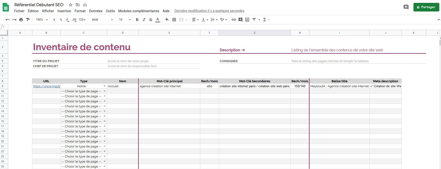 Referentiel SEO Listing Contenu