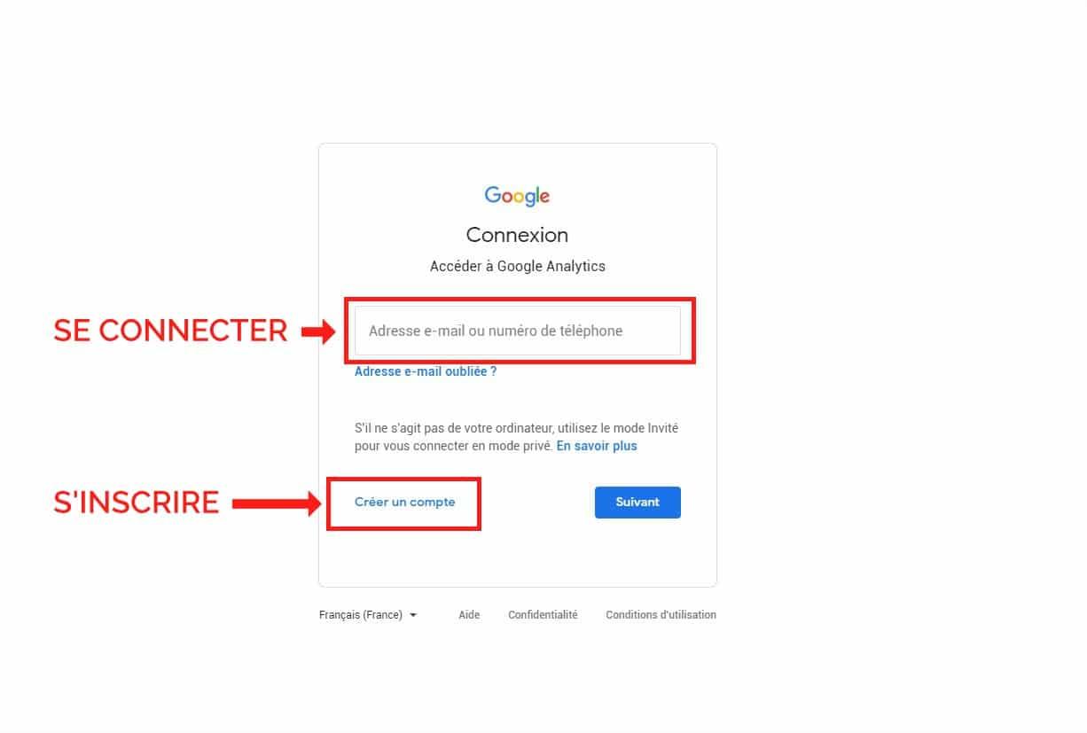 Inscription Connexion Google Analytics