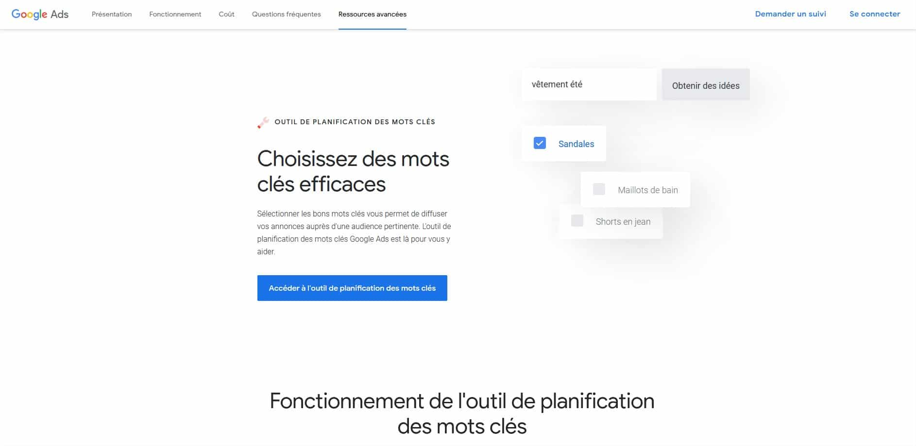 Keyword Planner mots-cles