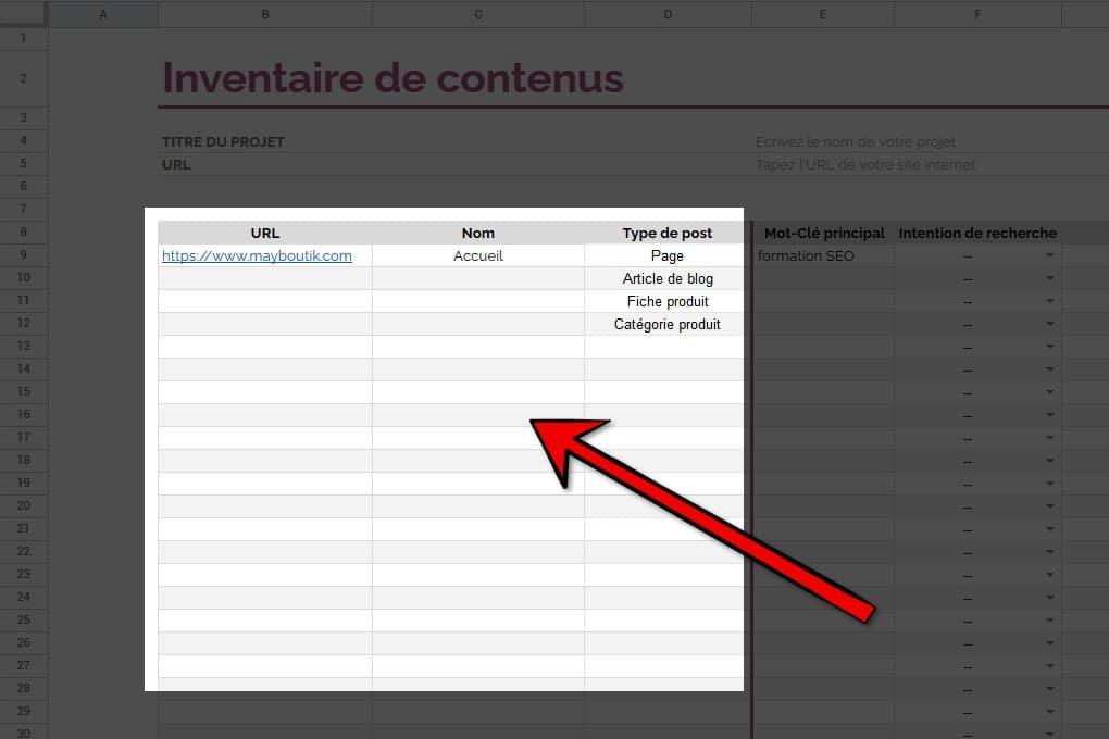 Listing contenu tableau