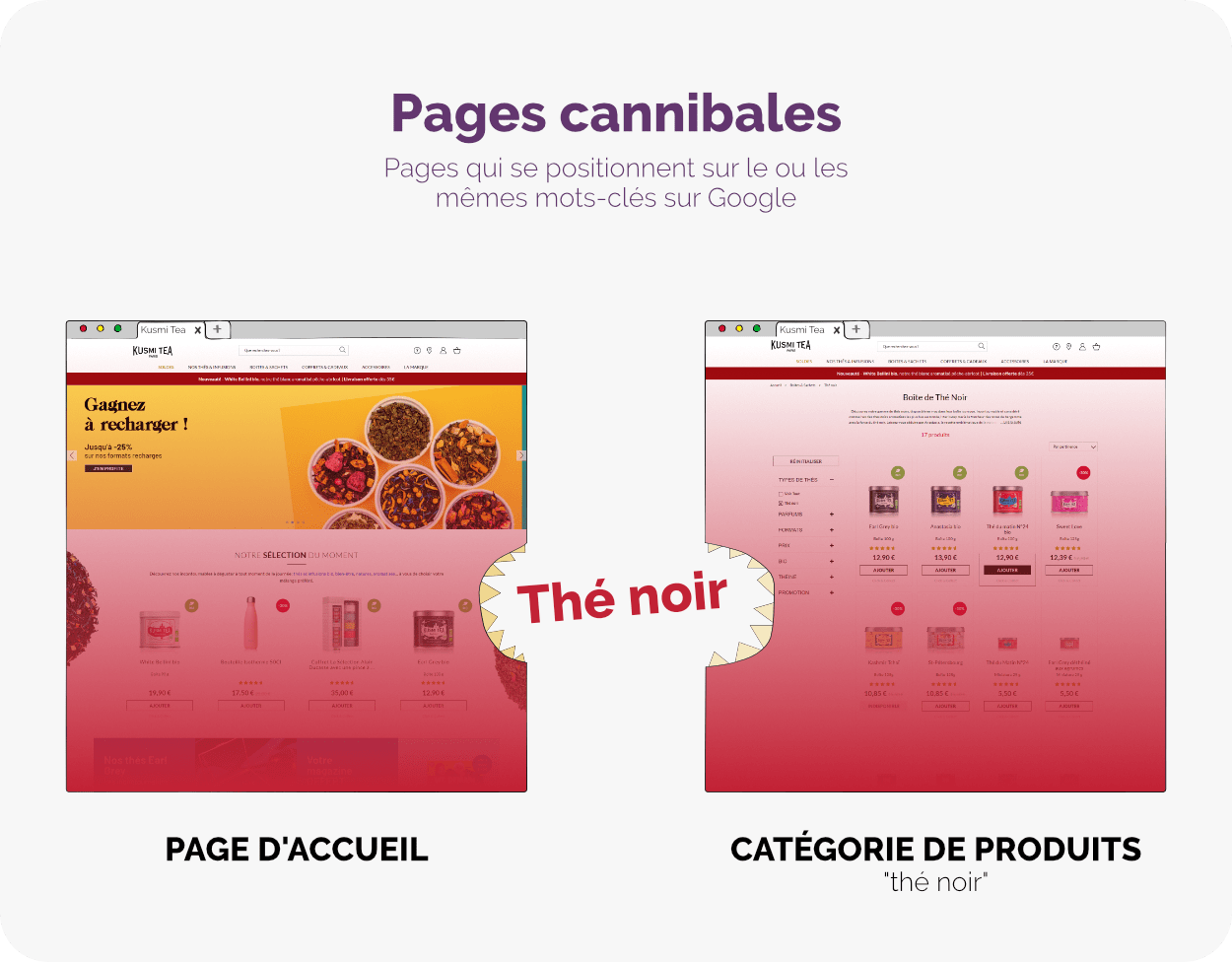 Pages cannibales en SEO