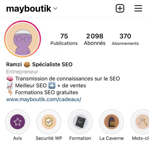 Compte Instagram de Mayboutik